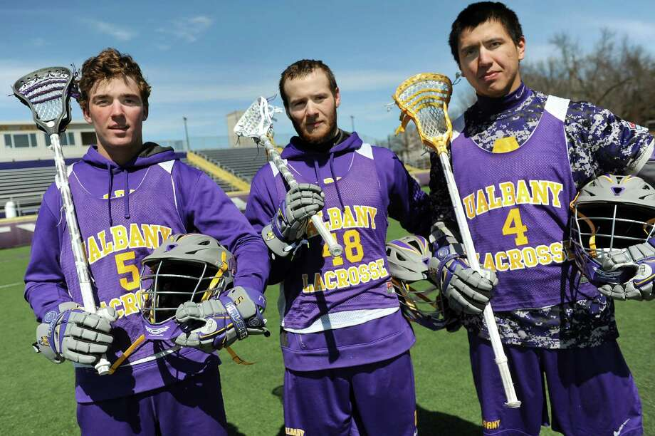 UAlbany's Connor Fields, left, Seth Oakes, center, and Lyle Thompson lead the highest-scoring team in college lacrosse on Wednesday, April 1, 2015, at UAlbany in Albany, N.Y. (Cindy Schultz / Times Union) Photo: Cindy Schultz / 00031253A