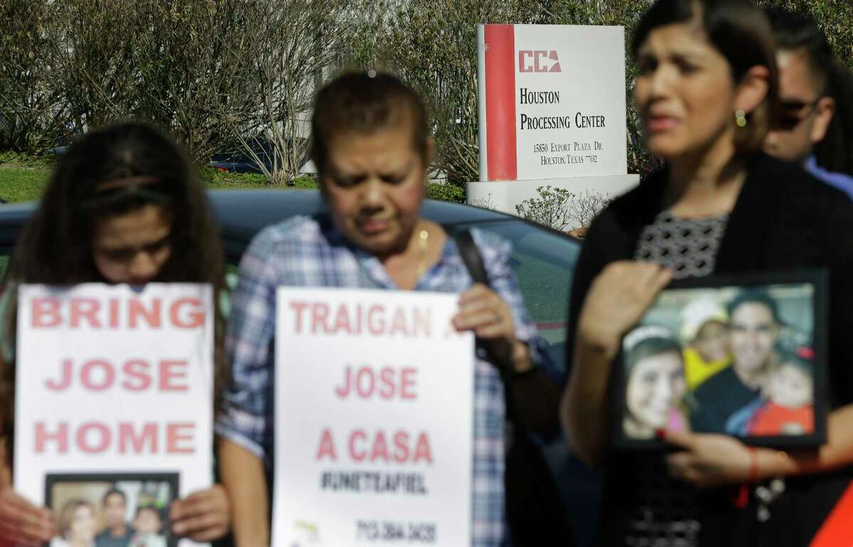 Rose Ascencio-Escobar, right, speaks during a rally Saturday calling for the release of her husband, Jose Escobar, who was arrested by Houston immigration authorities last week.