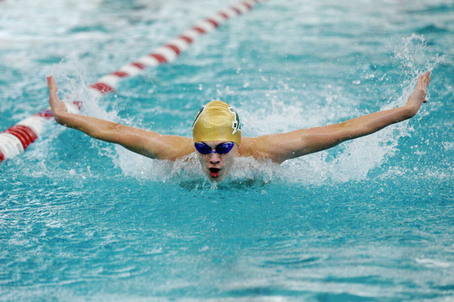 NICK KING | nking@mdn.net  Dow's Joey Park swims the butterfly during the 200 yard IM final during the Saginaw Valley League Swimming Championship finals on Saturday at Saginaw Valley State University. / Midland Daily News