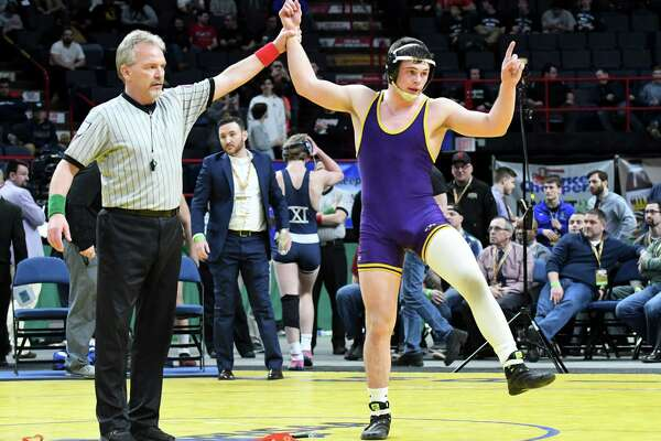 Tyler Barnes of Ballston Spa High School claims the 170-pound Division I wrestling title during the New York State Wrestling Championships on Saturday, Feb. 25, 2017, at the Times Union Center in Albany, N.Y. He beat Zach Ancewicz from John Glen. (Will Waldron/Times Union)