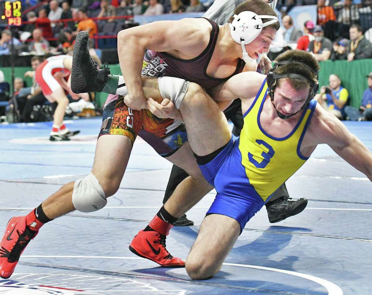 Tamarac's Fritz Scheffler wrestles Canastota's Ben Marshall in a semifinal match during the State Wrestling Championships at the Times Union Center Saturday Feb. 25, 2017 in Albany, NY. (John Carl D'Annibale / Times Union)