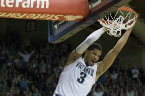 PHILADELPHIA, PA - FEBRUARY 25: Josh Hart #3 of the Villanova Wildcats reacts after dunking the ball against the Creighton Bluejays in the second half at the Pavilion on February 25, 2017 in Villanova, Pennsylvania. The Wildcats defeated the Bluejays 79-63. (Photo by Mitchell Leff/Getty Images) ORG XMIT: 669699227