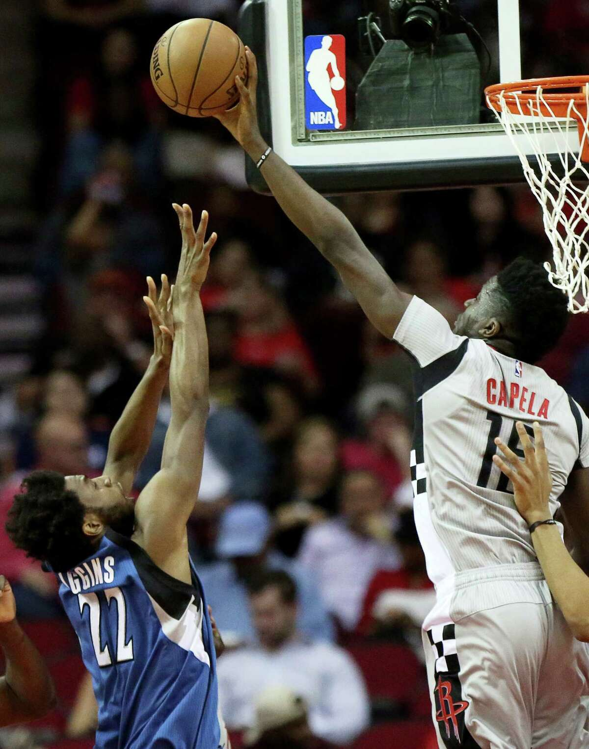 Houston Rockets center Clint Capela (15) blocks Minnesota Timberwolves forward Andrew Wiggins (22) during the first quarter of the game at Toyota Center Saturday, Feb. 25, 2017, in Houston.