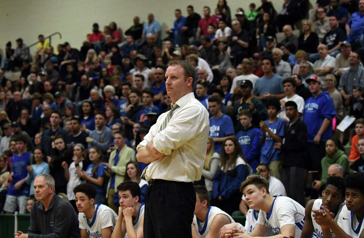Saratoga Springs High School basketball coach Matt Usher watches as his team battles against Schenectady High School during the Class Class AA boys' basketball quarterfinals on Saturday, Feb. 25, 2017, at Hudson Valley Community College in Troy, N.Y. (Will Waldron/Times Union)