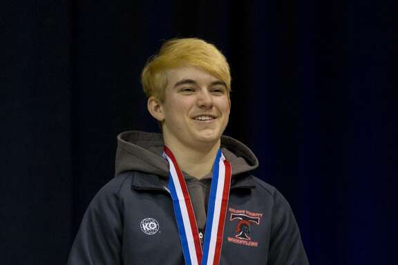 Mack Beggs of Euless Trinity defeated Chelsea Sanchez of Morton Ranch to win the Class 6A girls 110-pound championship at the UIL Wrestling State Championships Saturday, Feb. 25, 2017, in Cypress.  Beggs was born a girl and is transitioning to male but wrestles in the girls division.