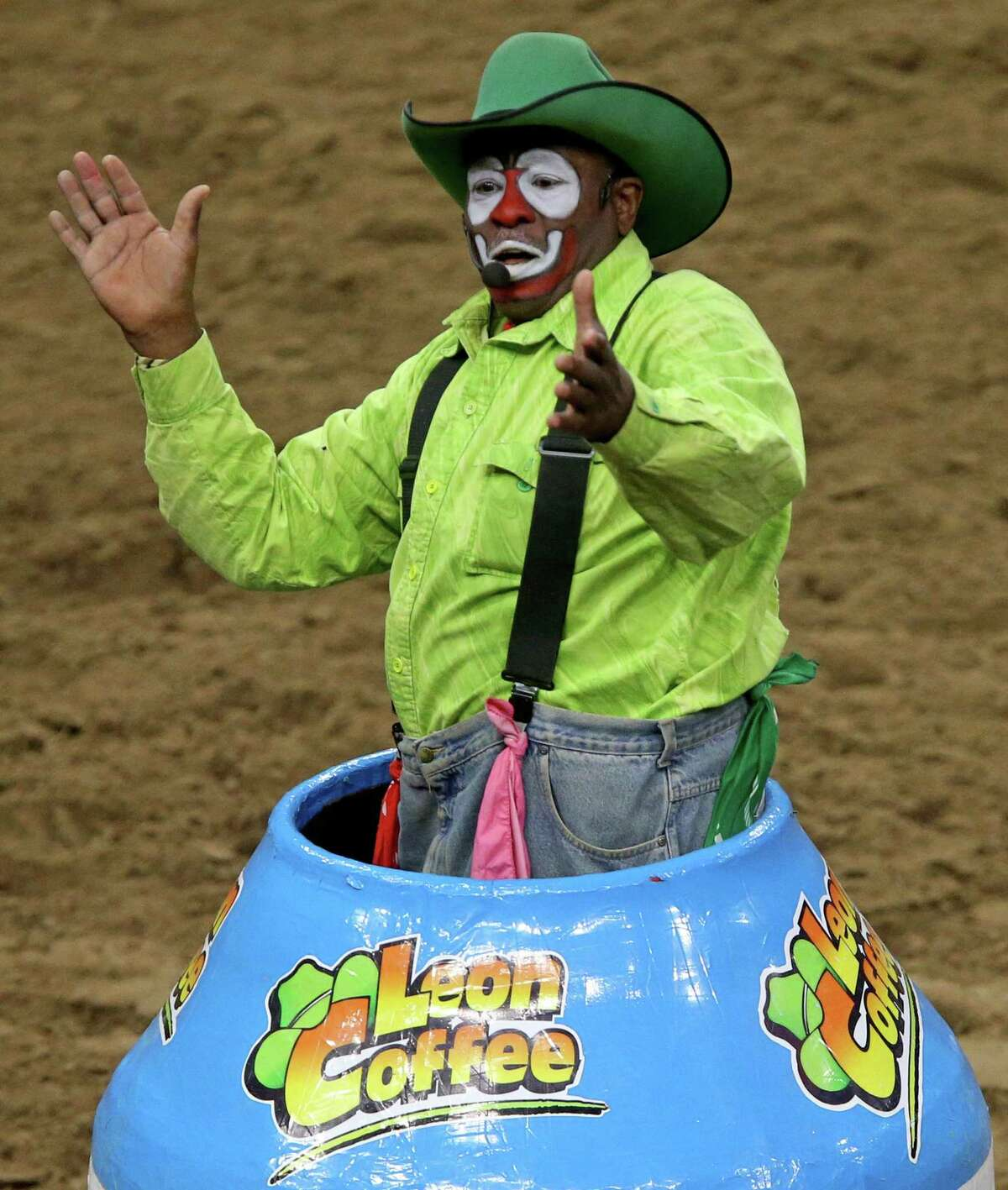 Barrelman Leon Coffee performs during the finals of the bull riding event at the San Antonio Stock Show & Rodeo in 2017 at the AT&T Center.