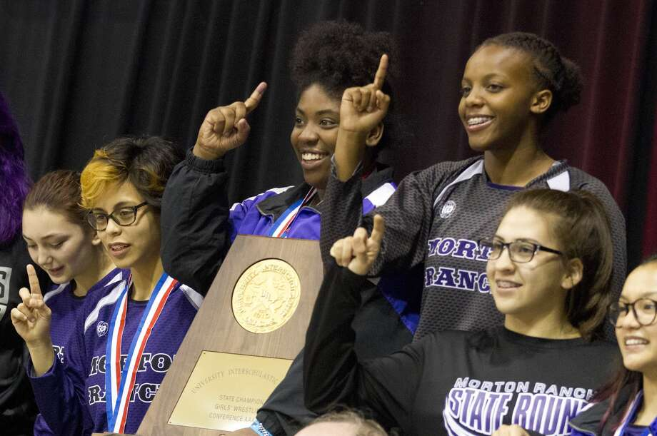 Morton Ranch won the Class 6A girls team titel at the UIL Wrestling State Championships Saturday, Feb. 25, 2017, in Cypress. Photo: Jason Fochtman/Houston Chronicle