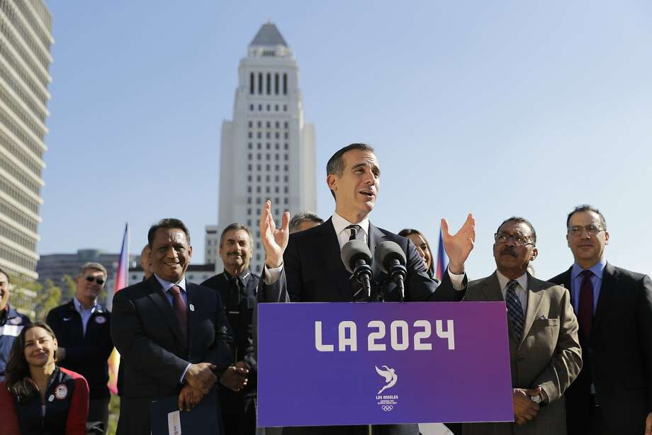 Los Angeles Mayor Eric Garcetti faces ballot measures that challenge his growth vision when he seeks re-election March 7. Photo: Jae C. Hong, Associated Press