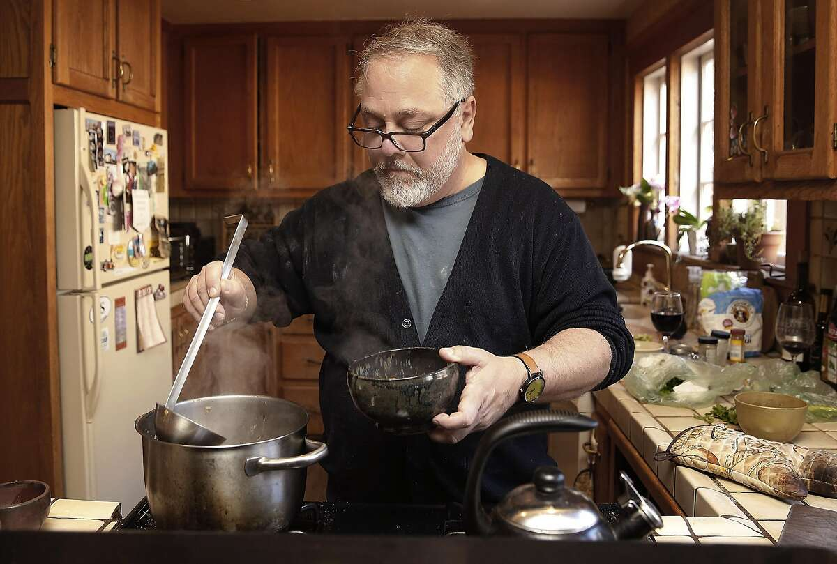 Noodle innovator Ken Albala makes his soup base for okra noodle soup at home on Friday, February 24, 2017, in Stockton, Calif.