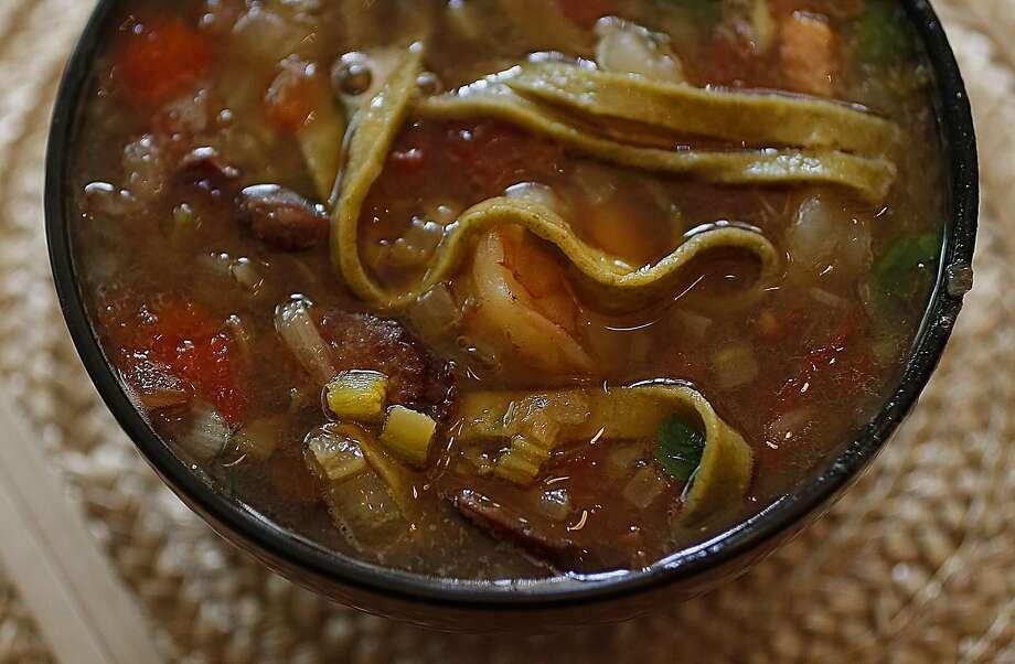 Ken Albala's Gumbo Noodle Soup Photo: Liz Hafalia, The Chronicle