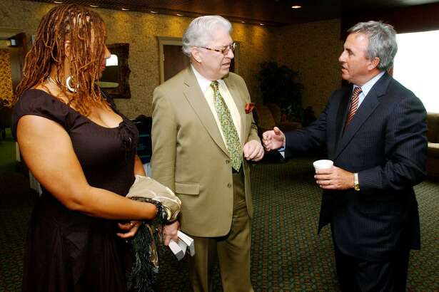 Stamford_060508-Friends of the Ferguson host the 27th Book & Author Luncheon at the Italian Center. Authors Bernice McFadded,Frank Delaney and Mickey Sherman chat before the event . Dru Nadler/photo Special Dru Nadler