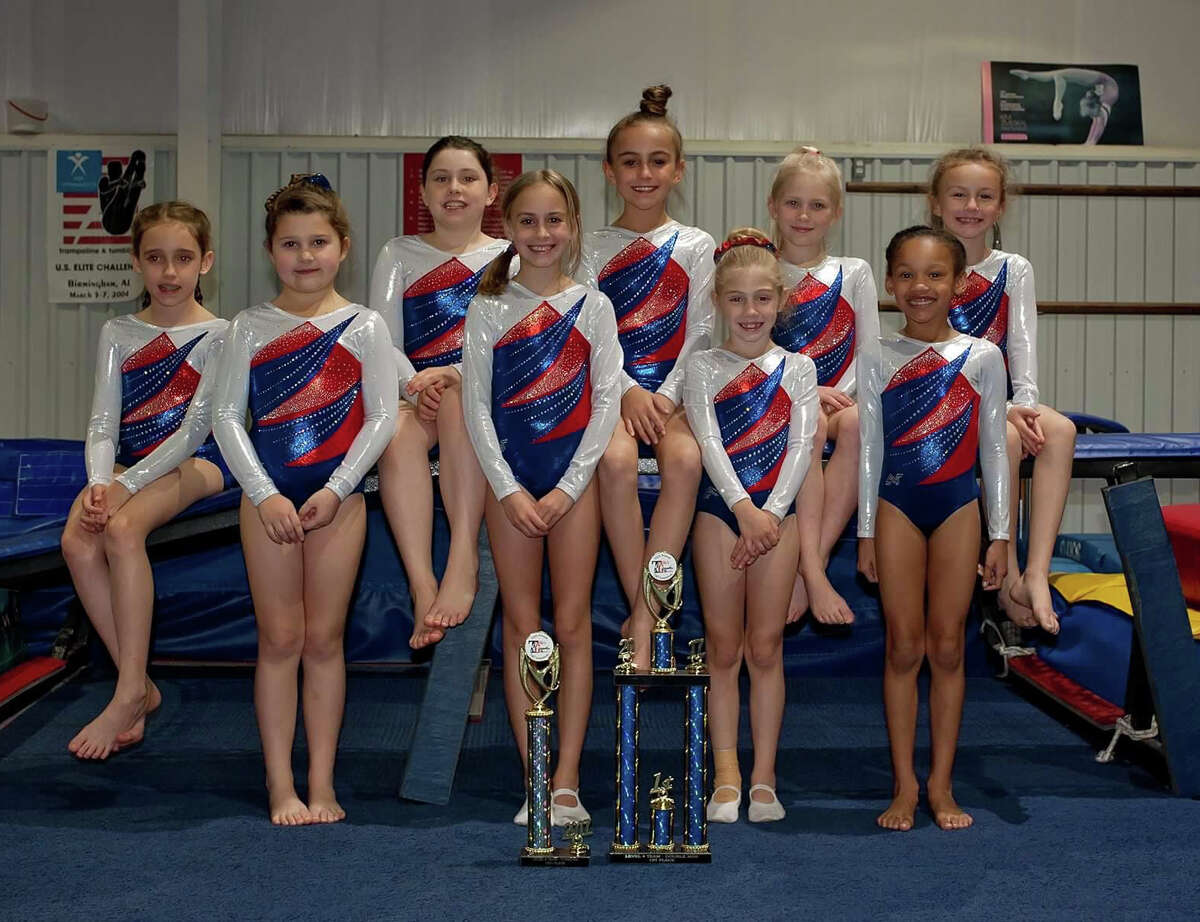 The Level 4 team earned first place in double mini and tumbling.