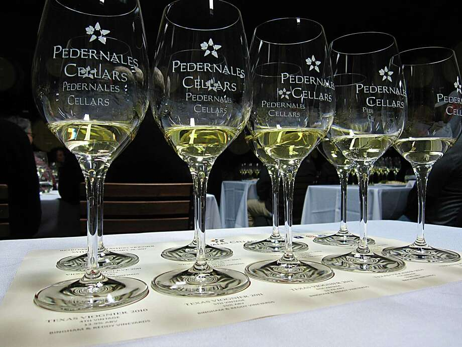 A tasting of viognier wine vintages at Pedernales Cellars in Stonewall. Photo: Mike Sutter /San Antonio Express-News
