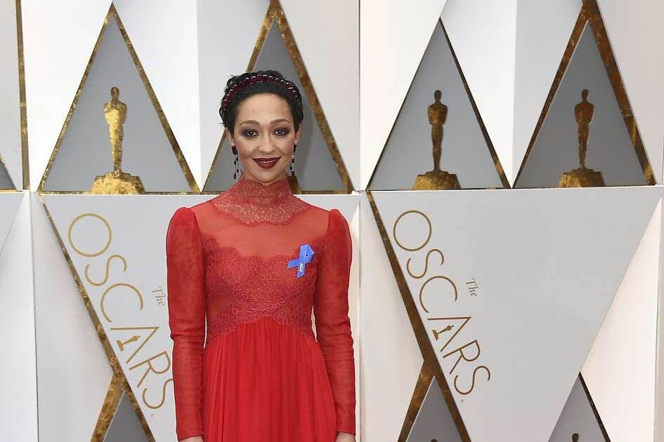 Ruth Negga arrives at the Oscars on Sunday, Feb. 26, 2017, at the Dolby Theatre in Los Angeles. (Photo by Jordan Strauss/Invision/AP)