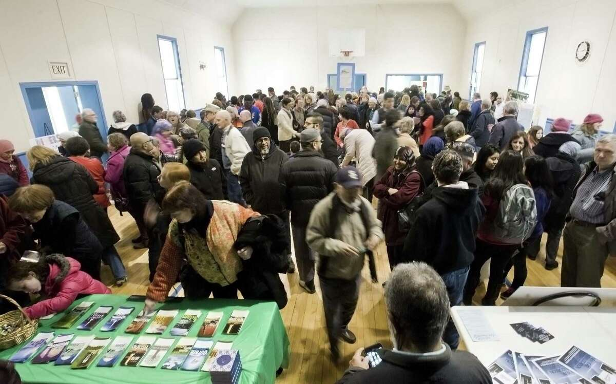 """Many folks attended the """"social justice fair"""" inside the Central Christian Church in Danbury during the Humanity Rally. Sunday, Feb. 26, 2017"""