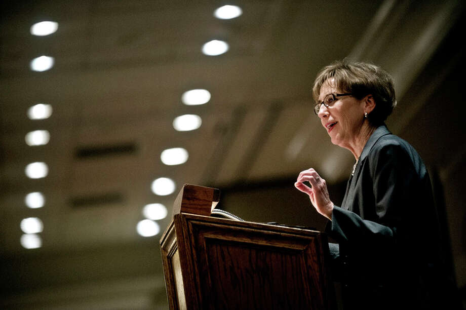 Midland Mayor Maureen Donker delivers the State of the City address in this Daily News file photo. / Midland Daily News