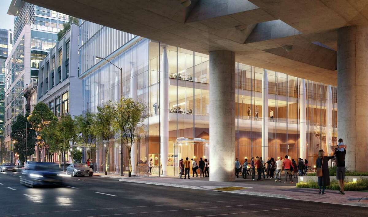 The base of the tower proposed for 555 Howard St. would be clad in ultra-clear glass as part of a design effort to connect to a park that will be located beneath the bus bridge to the new Transbay Transit Center