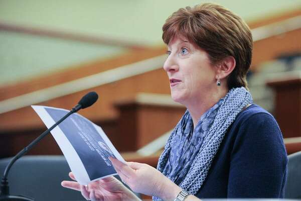 Albany Mayor Kathy M. Sheehan, testifies during a joint legislative budget hearing on local government funding from the state on Monday, Jan. 30, 2017, in Albany, N.Y. (AP Photo/Hans Pennink) ORG XMIT: NYHP118
