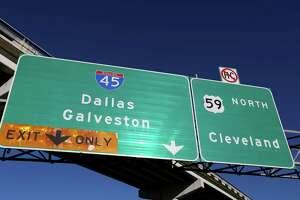 The Interstate 69/U.S. 59 northbound splitting to Interstate 45 Thursday, Feb. 23, 2017, in Houston.