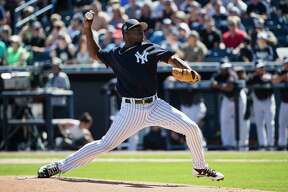 New York Yankees pitcher Luis Severino throws during a spring training baseball game against the Toronto Blue Jays, Sunday, Feb. 26, 2017, in Tampa, Fla. (AP Photo/Matt Rourke) ORG XMIT: FLMR112