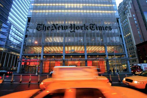 """FILE - In this April 21, 2009 file photo, The New York Times headquarters is shown in New York.  The New York Times will broadcast a television commercial called """"The Truth Is Hard"""" Sunday, Feb. 26, 2017 during the Academy Awards, the same week the company and other news organizations were blocked from joining an informal, on-the-record White House press briefing Friday .(AP Photo/Mark Lennihan, file) ORG XMIT: NY109"""