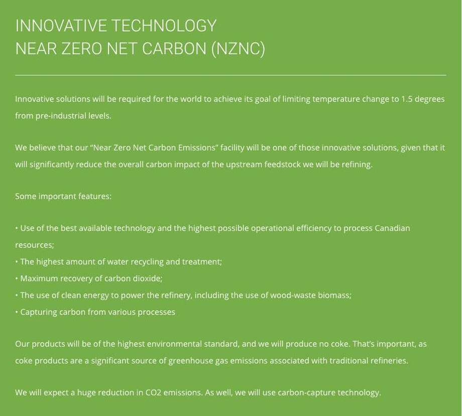 Shown is a screenshot from Pacific Future Energy's website that talks about green energy and sustainability. Photo: /