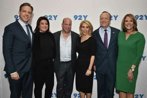 CNN President Jeff Zucker, third from right, participated in a discussion on the 2016 presidential election in New York on Feb. 23 with CNN journalists Jake Tapper, Ana Navarro, Dana Bash, Paul Begala and Gloria Borger.