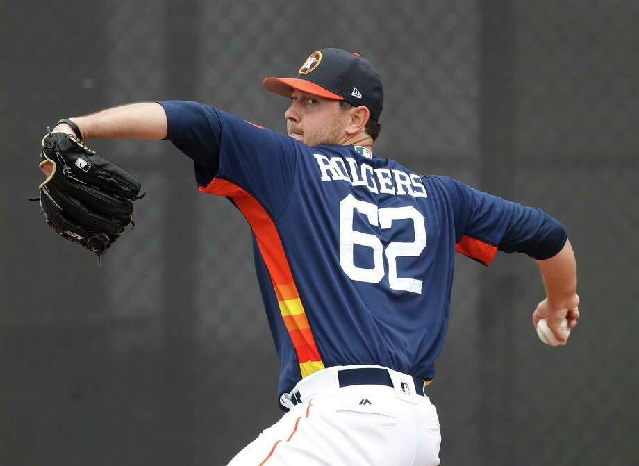 Over the first two innings of the Astros' 3-2 victory Sunday, Brady Rodgers allowed one run on two hits to the Braves in his spring debut. Photo: Karen Warren, Staff Photographer / 2017 Houston Chronicle