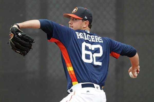 Over the first two innings of the Astros' 3-2 victory Sunday, Brady Rodgers allowed one run on two hits to the Braves in his spring debut.