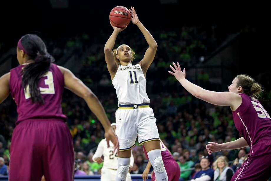 Notre Dame's Brianna Turner (11), who played at Manvel, goes up for a shot against Florida State's Chatrice White (50) in Sunday's game at South Bend, Ind. Photo: Robert Franklin, FRE / FR17139 AP