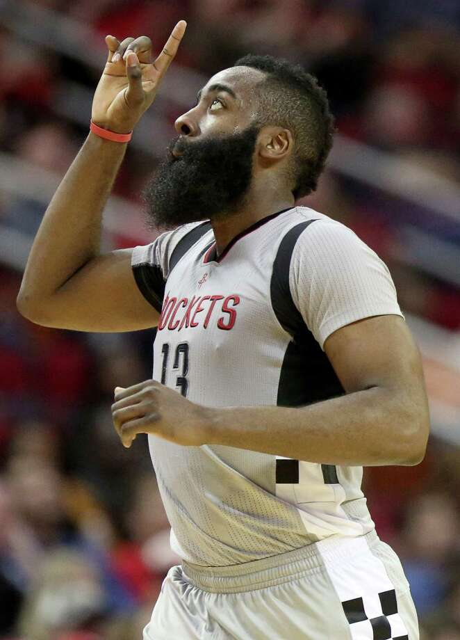Houston Rockets guard James Harden (13) celebrates a three-pointer during the second half of the game at Toyota Center Saturday, Feb. 25, 2017, in Houston. ( Yi-Chin Lee / Houston Chronicle ) Photo: Yi-Chin Lee, Staff / © 2017  Houston Chronicle