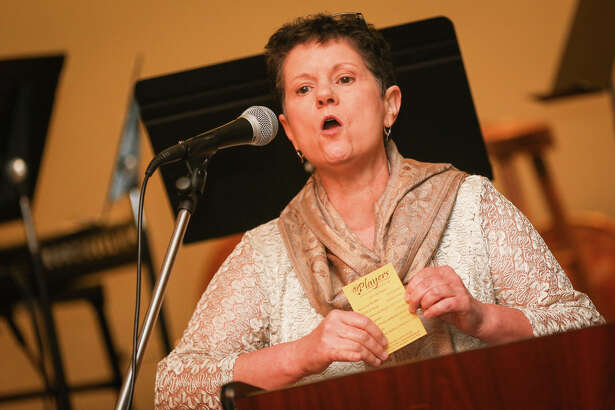Diana Egley, impersonating Julia Child, speaks during The Players 50th Anniversary Gala on Saturday at La Torretta Lake Resort & Spa.