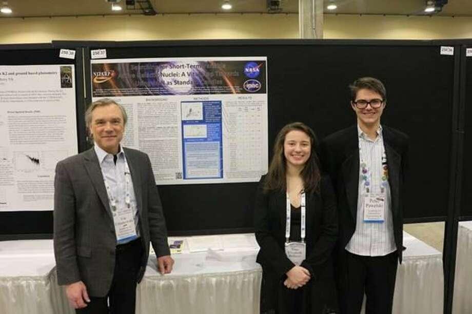 AITE math teacher Vin Urbanowski, along with seniors Nina Bellusci and Peter Pawelski. Photo: Contributed / Stamford Public Schools