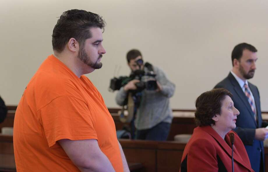 """Edward """"Ted"""" Mero, the city water department employee accused of killing two women, pleaded not guilty at his arraignment Monday morning in Albany County Court. (Skip Dickstein / Times Union)"""