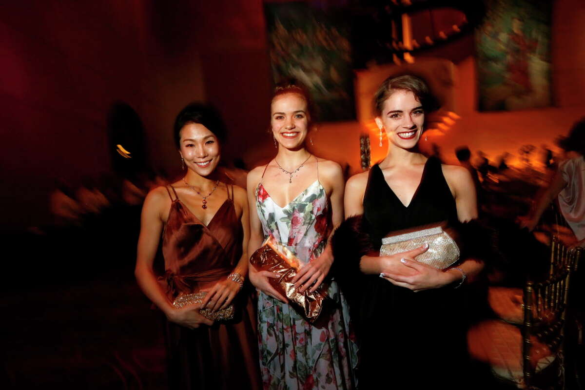 Ballerinas Soo Youn Cho, Jacquelyn Long and Kaleigh Courts at the Cinderella-themed Ballet Ball on Saturday, Feb. 25, 2017, in Houston. (Annie Mulligan / Freelance)