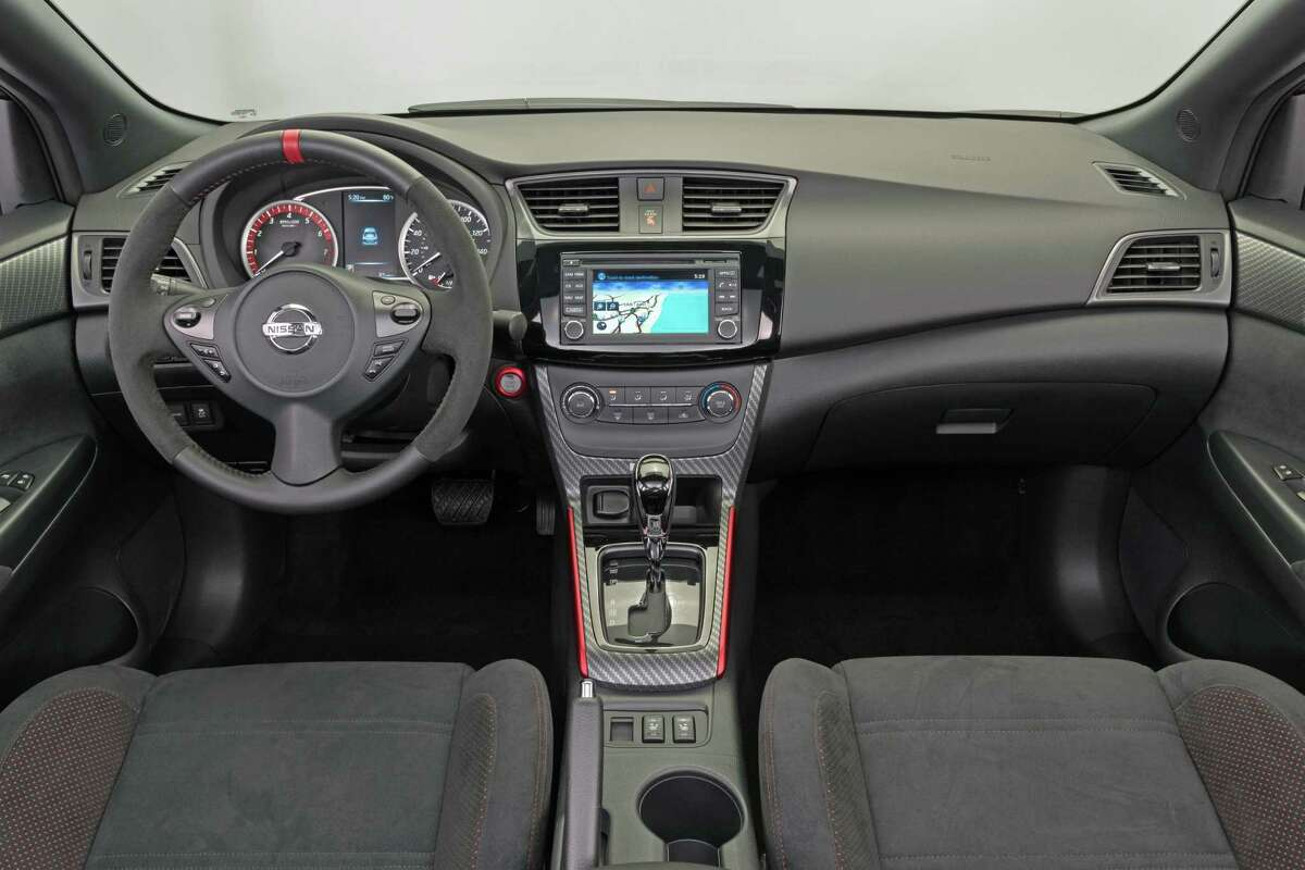 The 2017 Nissan Sentra NISMO interior is designed to support exciting driving Â?- starting with unique front seats with logo and additional side bolstering. The rear seats feature unique cloth material with red stitching.