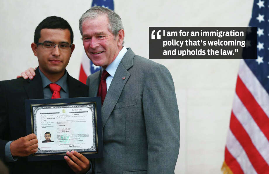 "1. When asked if he supported President Trump's so-called Muslim ban, Bush said: ""I am for an immigration policy that's welcoming and upholds the law."" Photo: Courtesy"