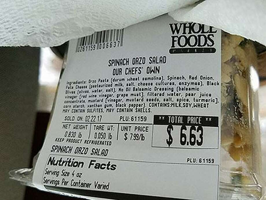 """Whole Foods Market is recalling """"Our Chefs' Own"""" Spinach Orzo Salad sold in stores in Connecticut — and four other states — due to an undeclared tree nut allergen. Photo courtesy of U.S. Food and Drug Administration. Photo: Contributed / Contributed"""