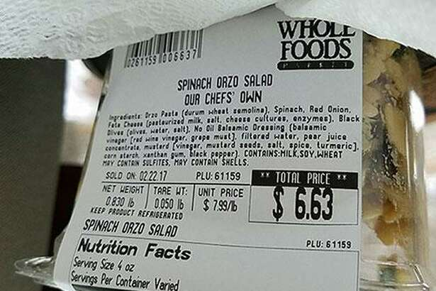 """Whole Foods Market is recalling """"Our Chefs' Own"""" Spinach Orzo Salad sold in stores in Connecticut — and four other states — due to an undeclared tree nut allergen. Photo courtesy of U.S. Food and Drug Administration."""