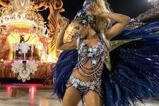 Actress Monique Alfradique dances during Grande Rio performance at the Rio de Janeiro Carnival at Sambodromo on February 26, 2017 in Rio de Janeiro, Brazil.