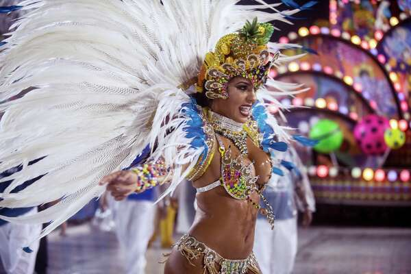 A performer dances during Paraiso do Tuiuti performance at the Rio Carnival at Sambodromo on February 26, 2017 in Rio de Janeiro, Brazil.
