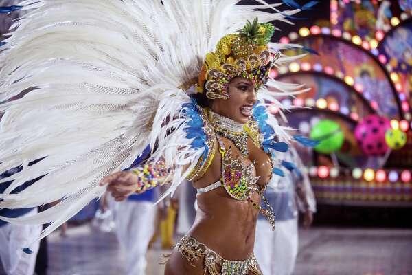 A performer dances during Paraiso do Tuiuti performance at the Rio Carnival at Sambodromo on February 26, 2017 in Rio de Janeiro, Brazil.