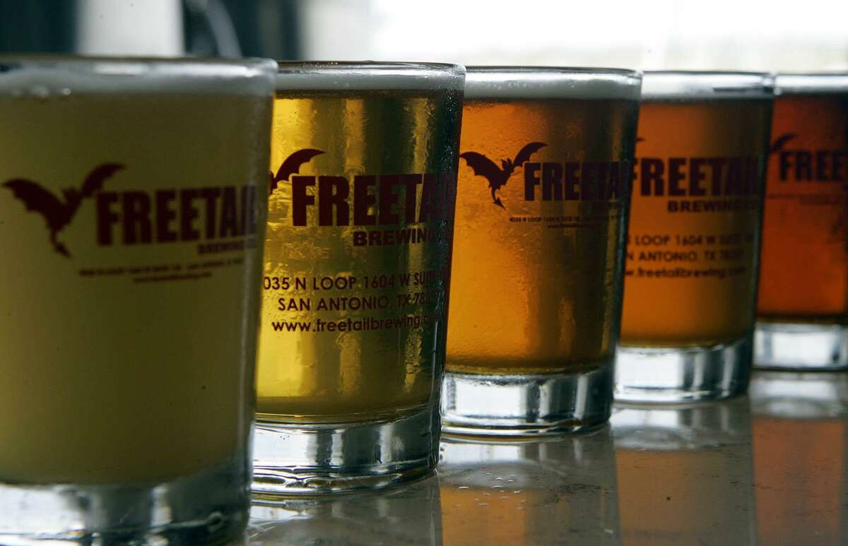 A lineup of beers from Freetail Brewing Co.