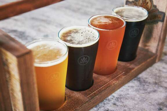 A flight of beer crafted at Southerleigh Fine Dining & Brewery.