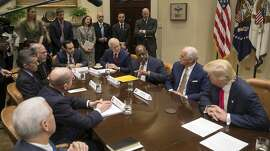 President Donald Trump meets with chief executives from health insurance companies in the Roosevelt Room of the White House in Washington, Feb. 27, 2017. From left: Andrew Bremberg, director of the Domestic Policy Council; Joseph Swedish, of Anthem Inc.; Bernard Tyson, of Kaiser Permanente; Daniel Hilferty, of Independence Blue Cross; and President Trump. (Stephen Crowley/The New York Times)