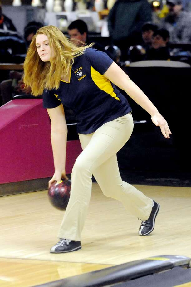 Bad Axe's Melissa Steinbis is shown here during a regular season match with Brown City. On Saturday, she captured the Division 4 regional championship.