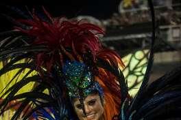 RIO DE JANEIRO, BRAZIL - FEBRUARY 26: Actress Julianne Trevisol dances during Grande Rio performance at the Rio de Janeiro Carnival at Sambodromo on February 26, 2017 in Rio de Janeiro, Brazil. (Photo by Raphael Dias/Getty Images)