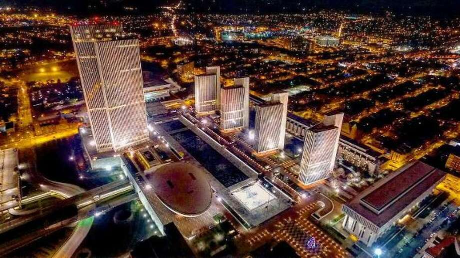 Bright lights in Albany city. Drone photo by @filmworks109. Photo: .