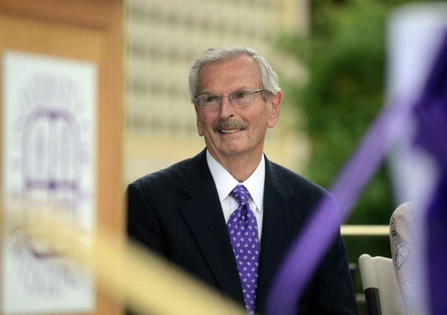 Ernest Trefz listens to speakers at the opening of the University of Bridgeport Ernest C. Trefz School of Business Tuesday, Sept. 9, 2014, in Bridgeport, Conn. Photo: Autumn Driscoll / Autumn Driscoll / Connecticut Post