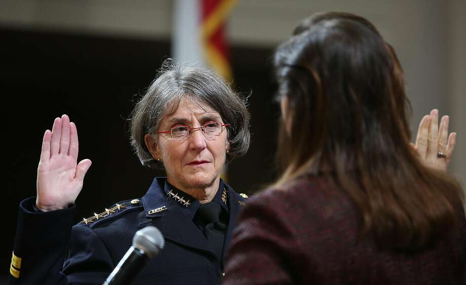 Mayor Libby Schaaf (right) swears in Anne E. Kirkpatrick (left) as OaklandÕs permanent Chief of Police at an Oakland City Hall ceremony on Friday, February 27, 2017, in Oakland, Calif. Photo: Liz Hafalia, The Chronicle